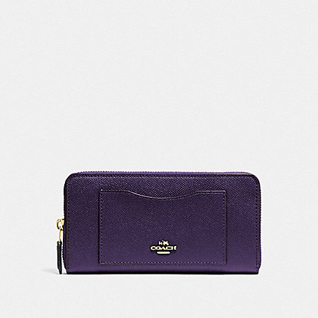 COACH ACCORDION ZIP WALLET - DARK PURPLE/IMITATION GOLD - F54007