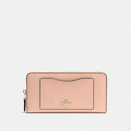COACH ACCORDION ZIP WALLET IN CROSSGRAIN LEATHER - IMITATION GOLD/NUDE PINK - f54007