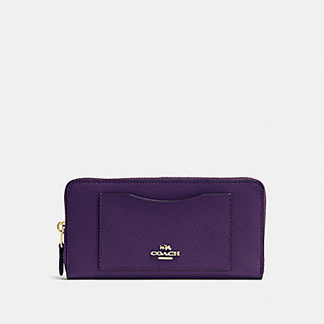 COACH ACCORDION ZIP WALLET IN CROSSGRAIN LEATHER - IMITATION GOLD/AUBERGINE - f54007