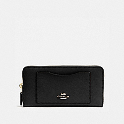 COACH ACCORDION ZIP WALLET IN CROSSGRAIN LEATHER - IMITATION GOLD/BLACK - F54007