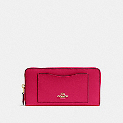 COACH ACCORDION ZIP WALLET IN CROSSGRAIN LEATHER - IMITATION GOLD/BRIGHT PINK - F54007