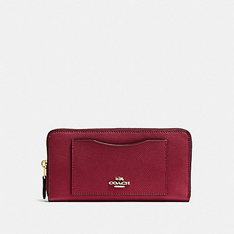 COACH ACCORDION ZIP WALLET - CHERRY /LIGHT GOLD - F54007