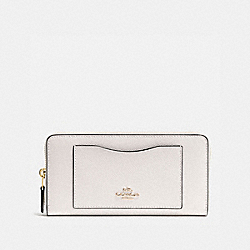 COACH ACCORDION ZIP WALLET IN CROSSGRAIN LEATHER - IMITATION GOLD/CHALK - F54007