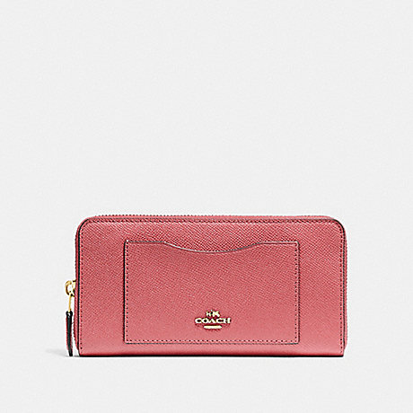 COACH ACCORDION ZIP WALLET - ROSE PETAL/IMITATION GOLD - F54007