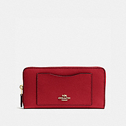 COACH ACCORDION ZIP WALLET IN CROSSGRAIN LEATHER - IMITATION GOLD/TRUE RED - F54007