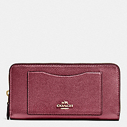COACH ACCORDION ZIP WALLET IN CROSSGRAIN LEATHER - IMITATION GOLD/METALLIC CHERRY - F54007
