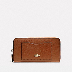 COACH ACCORDION ZIP WALLET IN CROSSGRAIN LEATHER - LIGHT GOLD/SADDLE 2 - F54007