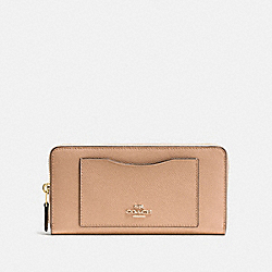 COACH ACCORDION ZIP WALLET IN CROSSGRAIN LEATHER - IMITATION GOLD/BEECHWOOD - F54007