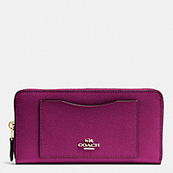 COACH ACCORDION ZIP WALLET IN CROSSGRAIN LEATHER - IMITATION GOLD/FUCHSIA - F54007