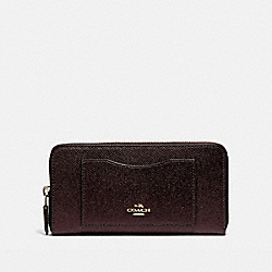 COACH ACCORDION ZIP WALLET - LIGHT GOLD/OXBLOOD 1 - F54007