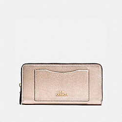 COACH ACCORDION ZIP WALLET IN CROSSGRAIN LEATHER - IMITATION GOLD/PLATINUM - F54007
