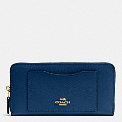 COACH ACCORDION ZIP WALLET IN CROSSGRAIN LEATHER - IMITATION GOLD/MARINA - F54007