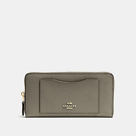 COACH ACCORDION ZIP WALLET - MILITARY GREEN/GOLD - F54007