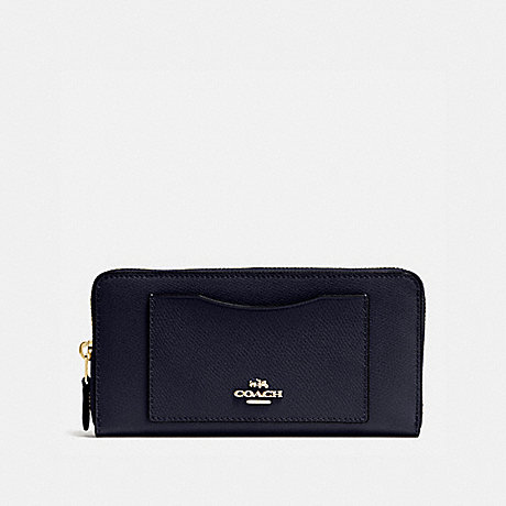 COACH ACCORDION ZIP WALLET - MIDNIGHT/LIGHT GOLD - F54007