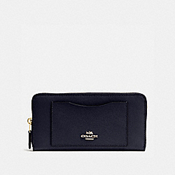 COACH ACCORDION ZIP WALLET IN CROSSGRAIN LEATHER - IMITATION GOLD/MIDNIGHT - F54007