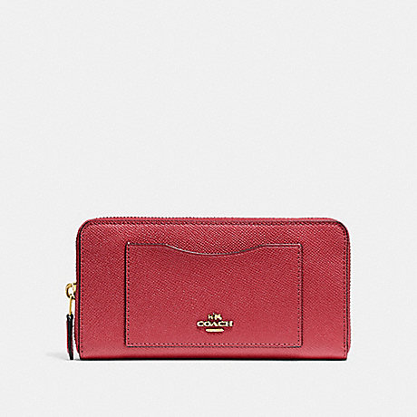 COACH ACCORDION ZIP WALLET - WASHED RED/GOLD - F54007