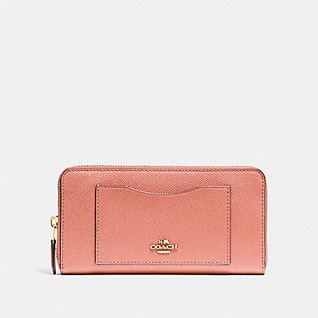 COACH ACCORDION ZIP WALLET - LIGHT CORAL/GOLD - F54007