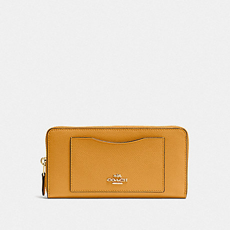COACH ACCORDION ZIP WALLET - MUSTARD YELLOW/GOLD - F54007