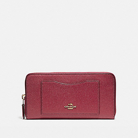 COACH ACCORDION ZIP WALLET - LIGHT GOLD/ROUGE - f54007