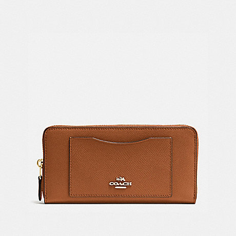 COACH ACCORDION ZIP WALLET IN CROSSGRAIN LEATHER - IMITATION GOLD/SADDLE - f54007