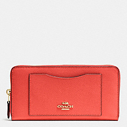 COACH ACCORDION ZIP WALLET IN CROSSGRAIN LEATHER - IMITATION GOLD/WATERMELON - F54007