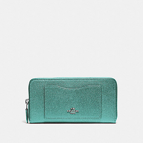 COACH ACCORDION ZIP WALLET - BLUE GREEN/BLACK ANTIQUE NICKEL - f54007