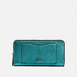 ACCORDION ZIP WALLET - QB/METALLIC VIRIDIAN - COACH F54007