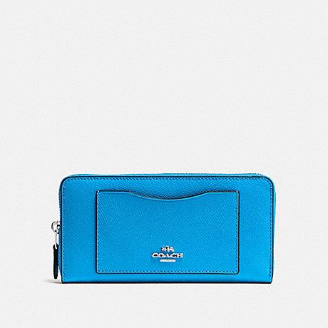COACH ACCORDION ZIP WALLET - BRIGHT BLUE/SILVER - f54007