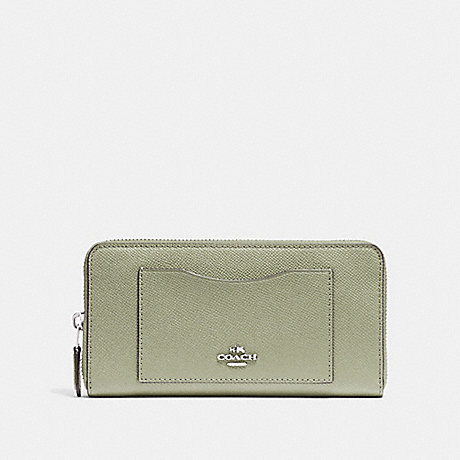COACH ACCORDION ZIP WALLET - PALE GREEN/SILVER - F54007