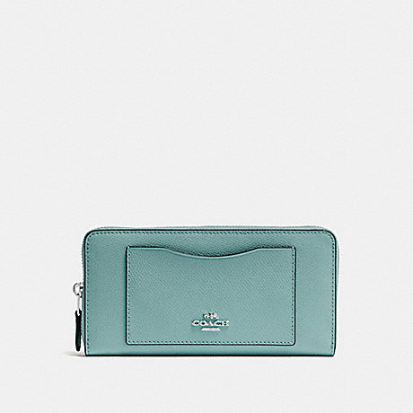 COACH ACCORDION ZIP WALLET - SILVER/AQUAMARINE - f54007
