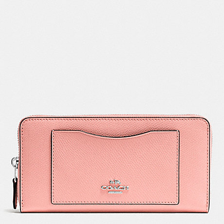 COACH ACCORDION ZIP WALLET IN CROSSGRAIN LEATHER - SILVER/BLUSH - f54007