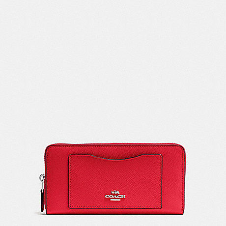 COACH ACCORDION ZIP WALLET IN CROSSGRAIN LEATHER - SILVER/BRIGHT RED - f54007