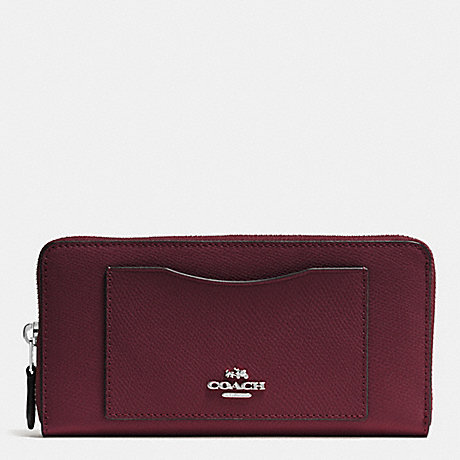 COACH ACCORDION ZIP WALLET IN CROSSGRAIN LEATHER - SILVER/BURGUNDY - f54007