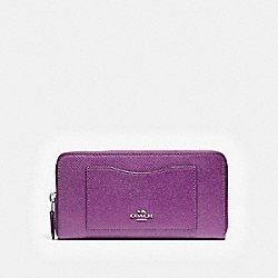 COACH ACCORDION ZIP WALLET - SILVER/BERRY - F54007
