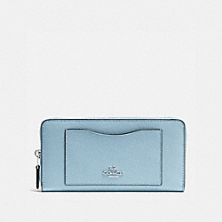 COACH ACCORDION ZIP WALLET IN CROSSGRAIN LEATHER - SILVER/CORNFLOWER - F54007