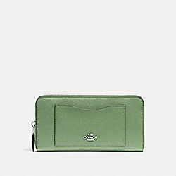 COACH ACCORDION ZIP WALLET - CLOVER/SILVER - F54007