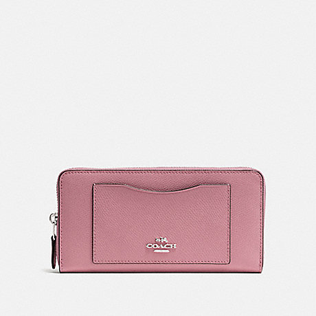 COACH ACCORDION ZIP WALLET - DUSTY ROSE/SILVER - F54007