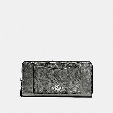 COACH ACCORDION ZIP WALLET IN CROSSGRAIN LEATHER - SILVER/GUNMETAL - f54007