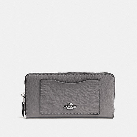 COACH ACCORDION ZIP WALLET - HEATHER GREY/SILVER - F54007