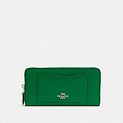 COACH ACCORDION ZIP WALLET IN CROSSGRAIN LEATHER - SILVER/JADE - F54007