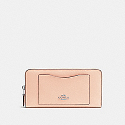 COACH ACCORDION ZIP WALLET - SILVER/LIGHT PINK - F54007