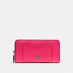COACH ACCORDION ZIP WALLET - SILVER/MAGENTA - F54007