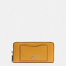 COACH ACCORDION ZIP WALLET IN CROSSGRAIN LEATHER - SILVER/MUSTARD - F54007