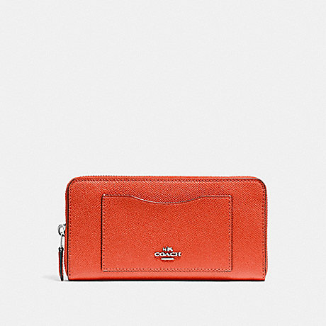 COACH ACCORDION ZIP WALLET - ORANGE RED/SILVER - f54007