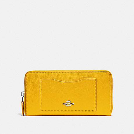 COACH ACCORDION ZIP WALLET - CANARY 2/SILVER - f54007