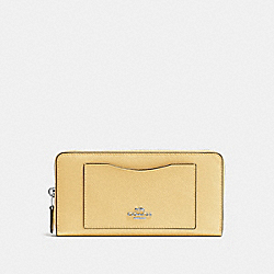 COACH ACCORDION ZIP WALLET - VANILLA/SILVER - F54007