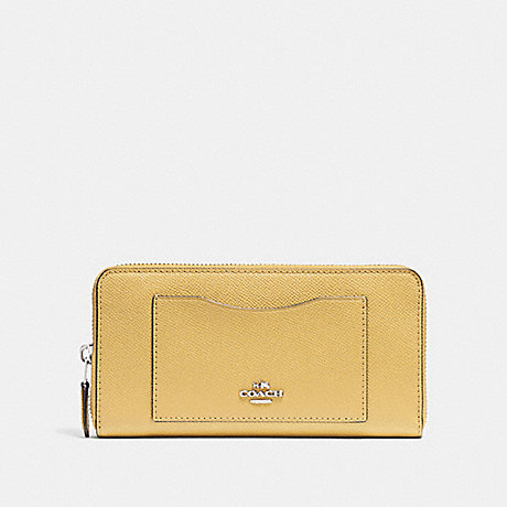 COACH ACCORDION ZIP WALLET - LIGHT YELLOW/SILVER - F54007