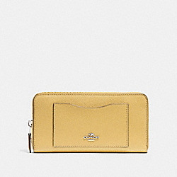 ACCORDION ZIP WALLET - LIGHT YELLOW/SILVER - COACH F54007