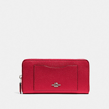 COACH ACCORDION ZIP WALLET - BRIGHT CARDINAL/SILVER - F54007