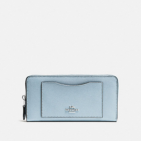 COACH ACCORDION ZIP WALLET - SV/PALE BLUE - F54007